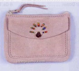 Zippered Coin Purse W/ Outside Pocket & Beaded Design