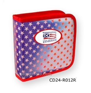 3d Lenticular CD Wallet/ Case With Red Trim- 24 Cd's (Stars)