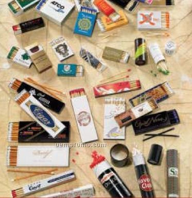 """10 Count Custom Cigar Match Box With 4"""" Matches (112mm X27mm X10mm)"""