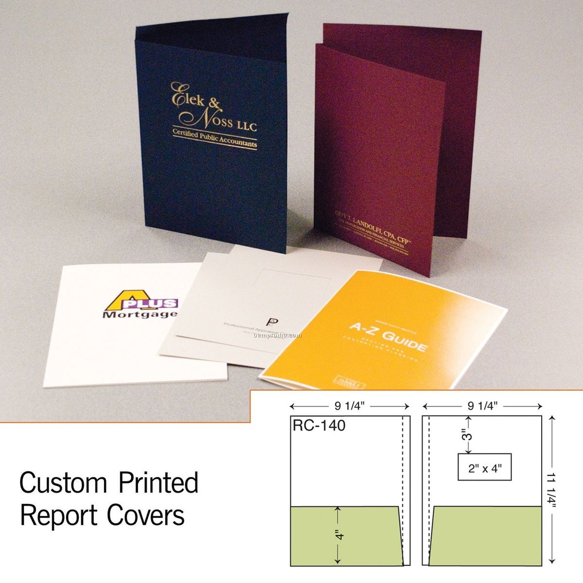 2 Part Report Cover W/ Double Pocket (1 Color/1 Side)