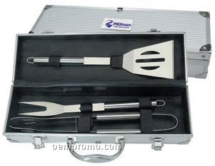 3-piece Stainless Steel Bbq Tool Set In Aluminum Case