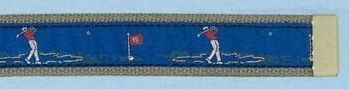 Embroidered Web Belt With Brass Or Silver Tip (Golfer)