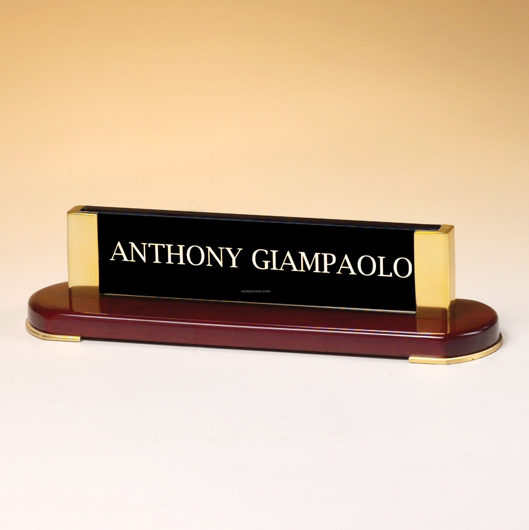 Rosewood Finish Name Plate W/ Gold Metal Accents & Glass Upright