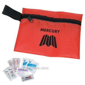 Traveler's Emergency Aid Kit # 1 W/ Polyester Zipper Pouch