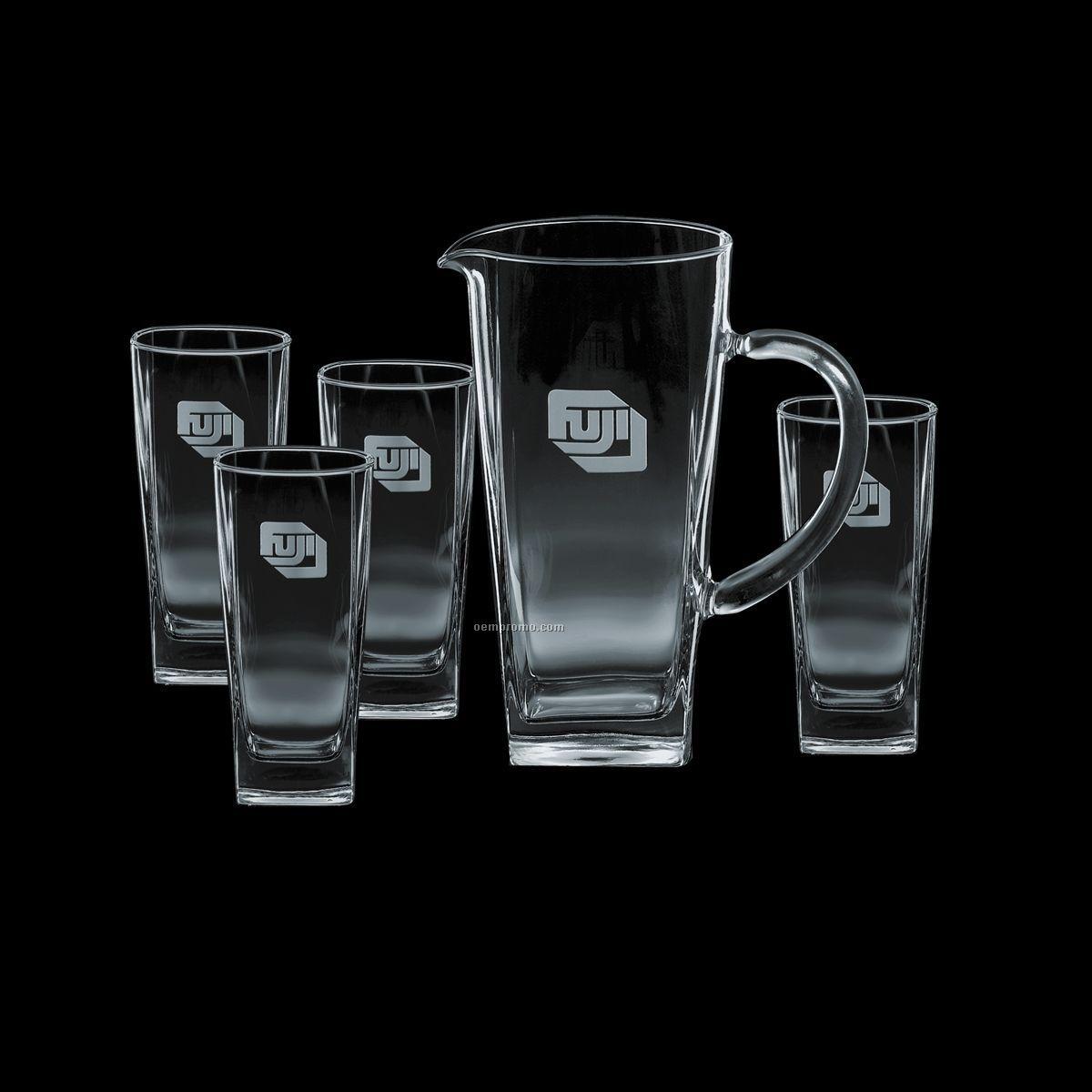 43 Oz. Sterling Pitcher & 4 Hiball Glasses