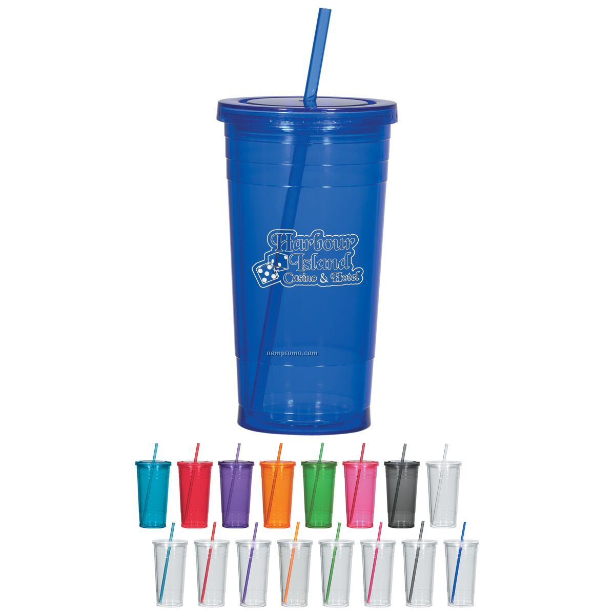 24 Oz. Double Wall Acrylic Tumbler W/ Straw