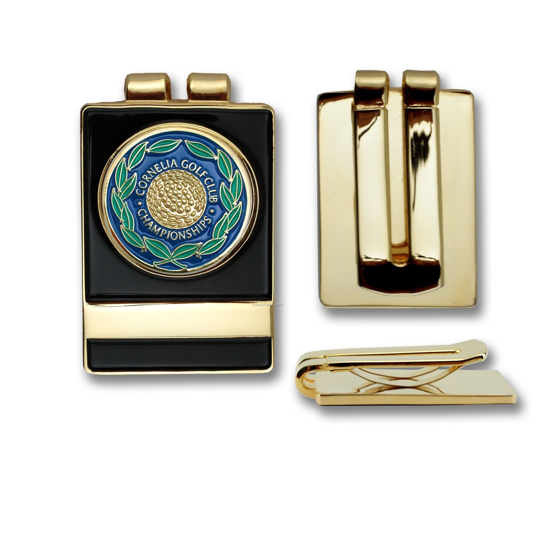 Golf Belt/Money Clip With Custom Ball Marker - Die Struck Brass