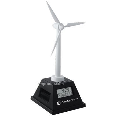 Solar Powered Turning Wind Turbine W/Clock