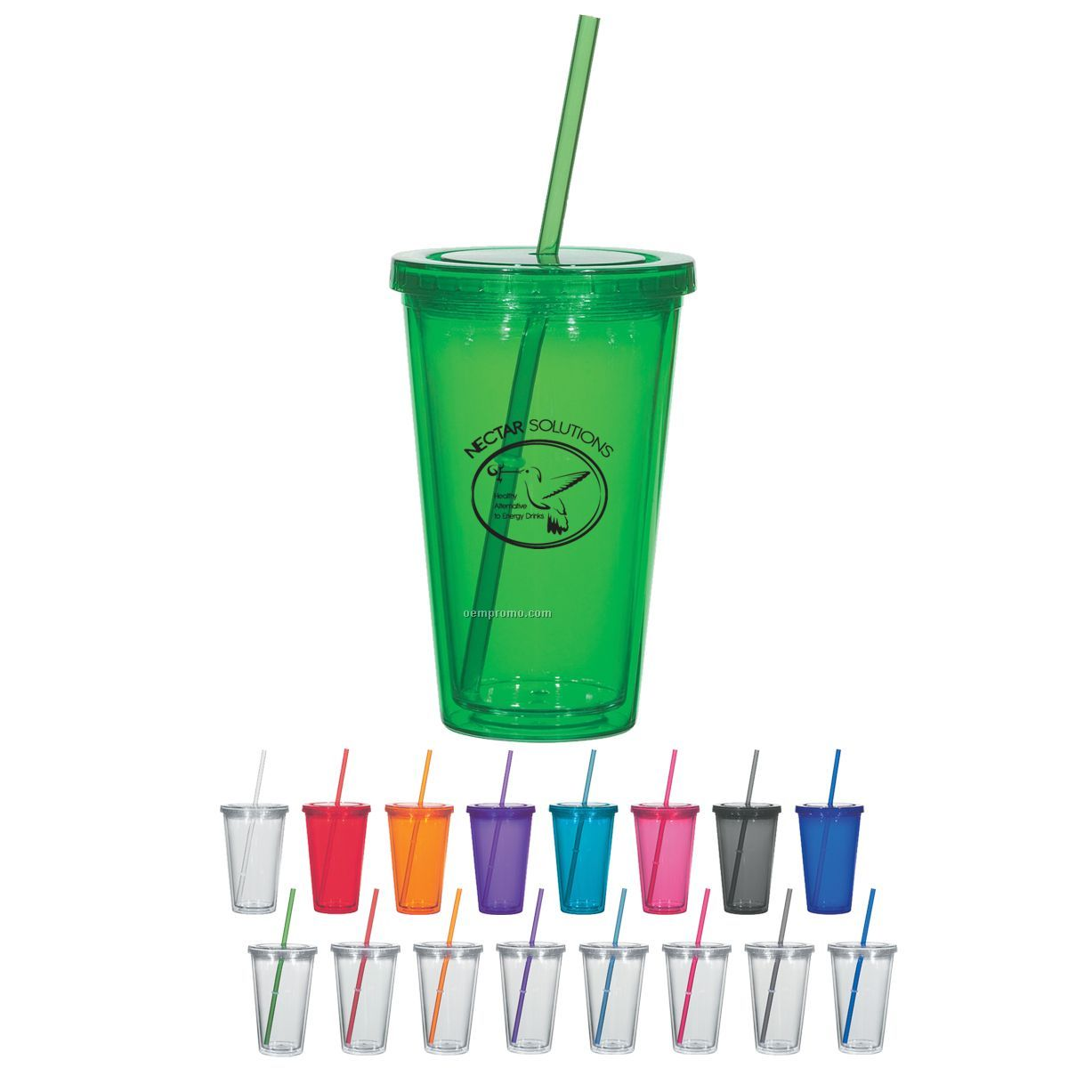 16 Oz. Double Wall Plastic Tumbler W/ Straw