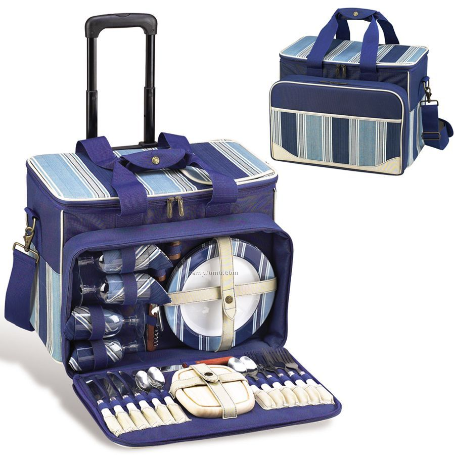 Aegean Picnic Cooler For Four With Removable Wheeled Cart