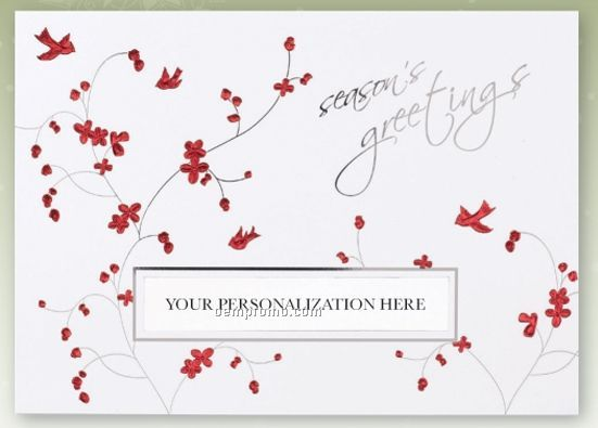 Birds And Blossoms Personalized Die Cut Holiday Card
