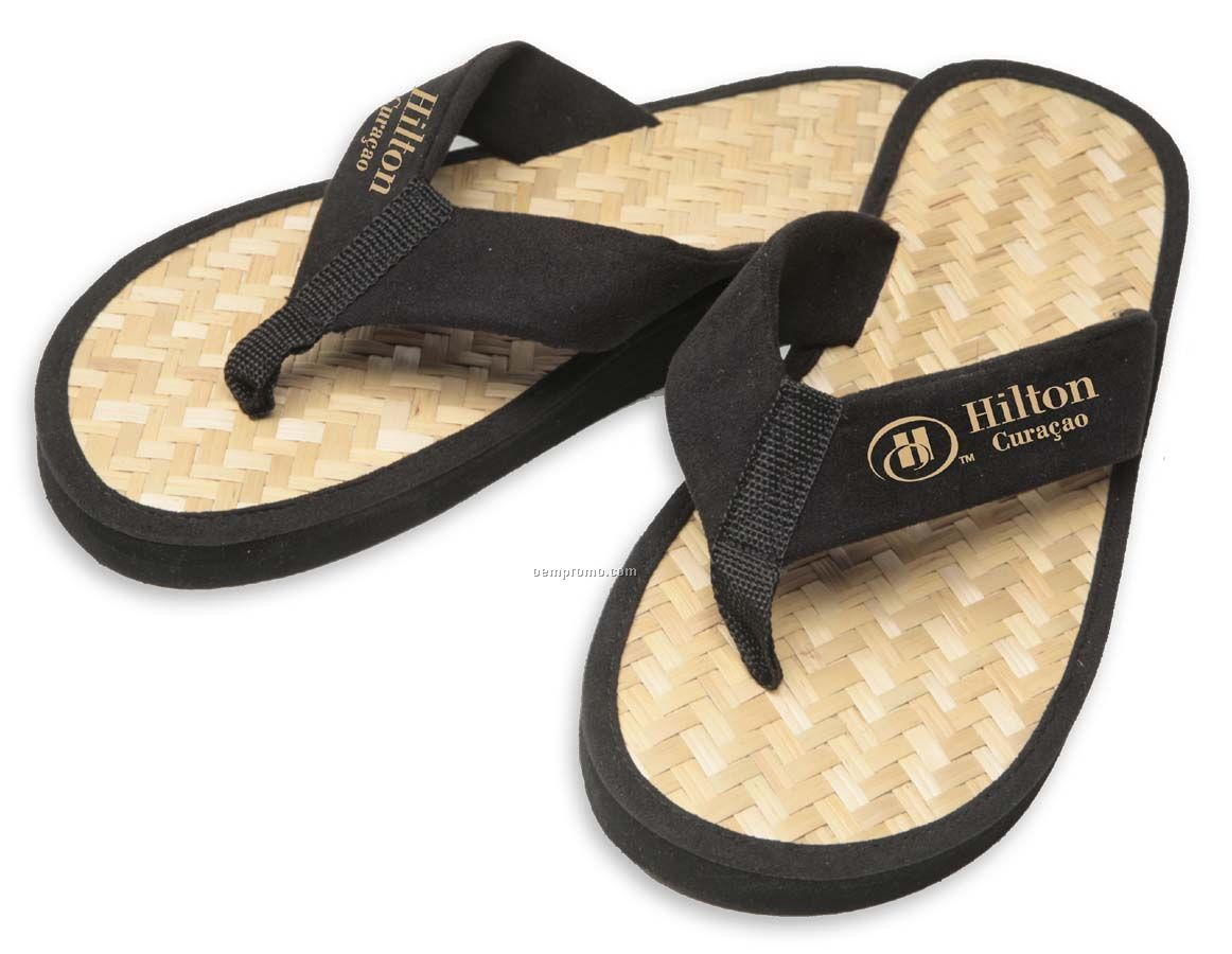 Ala Moana Bamboo Surf Style Flip Flop With Embroidered Straps