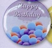 "1-1/2"" Stock Buttons (Happy Birthday)(Blue)"