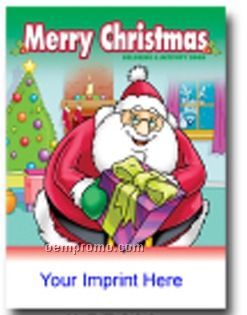 Merry Christmas Coloring & Activity Book - Santa Holding Gift