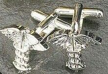Rhodium Plated Cufflinks W/ Caduceus