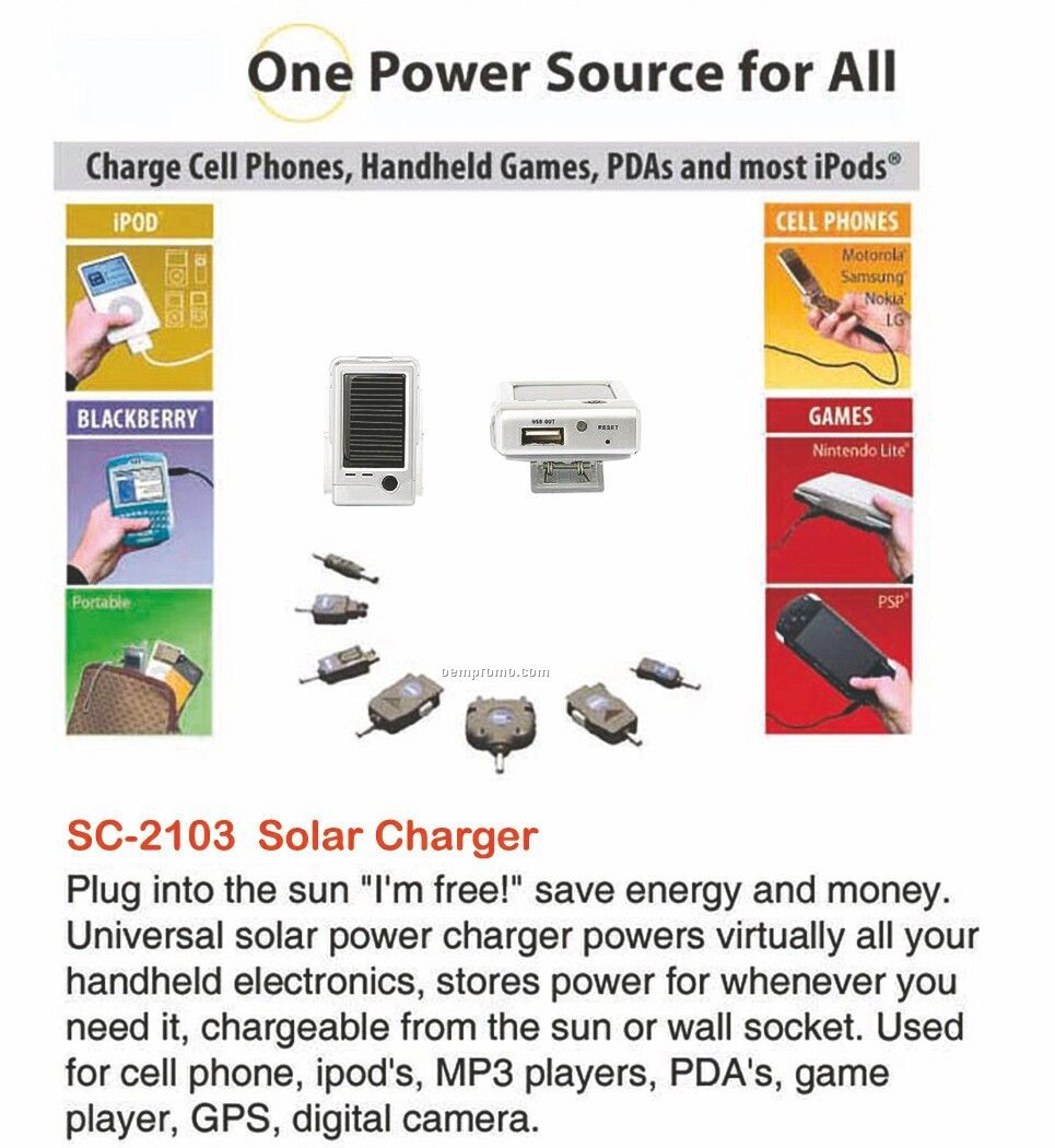 Silver Solar Power Charger / Powers Cell Phones / Mp3 Players