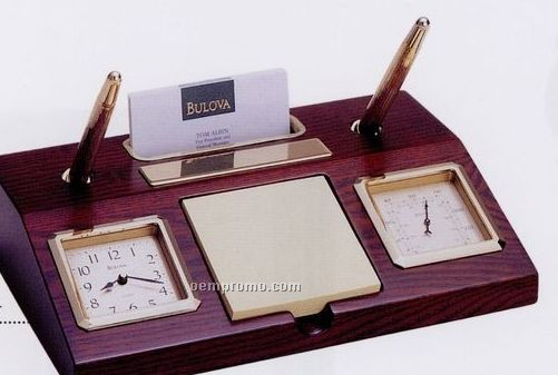 Bulova Parkston Executive Clock & Desk Set