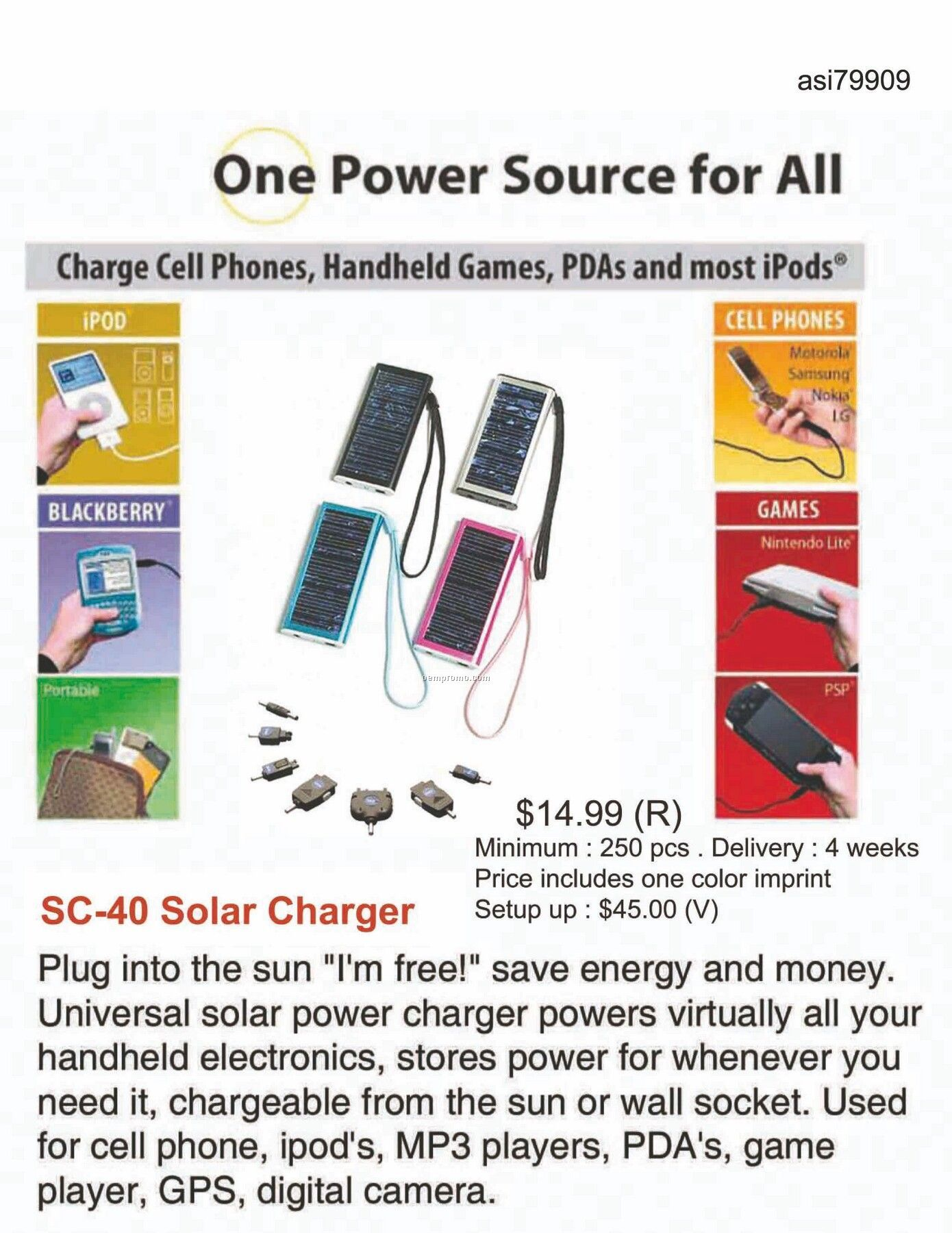Solar Charger For Iphone, Ipod, Blackberry, Android, Htc