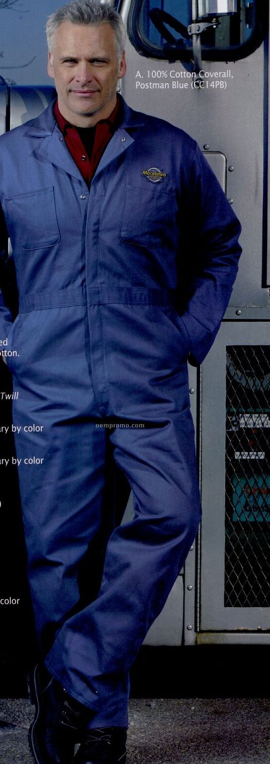 Navy Blue 100% Cotton Coverall (Regular 36-58/Long 40-54)