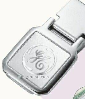 """Square 3d Mirror Etched Chrome Money Clip (1-1/4""""X2-1/4""""X3/8"""")"""