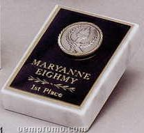 White Marble Paperweight W/ Small Victory Medallion
