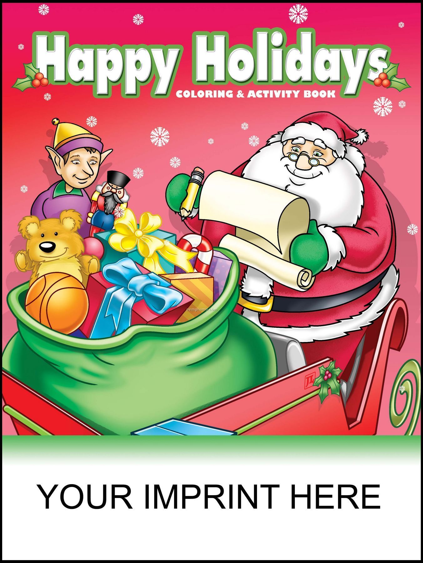 Happy Holidays Coloring & Activity Book - Santa Holding List