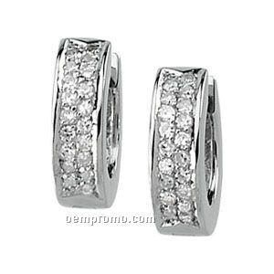 Ladies' 14kw/Palladium Rhodium 1/4 Ct Tw Diamond Round Hinged Earring
