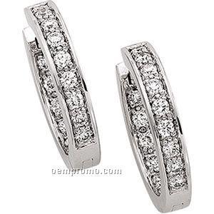 Ladies' 14kw/Palladium Rhodium 3/4 Ct Tw Diamond Round Hinged Earring