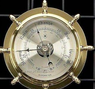 Nautical Brass Ship's Wheel Barometer