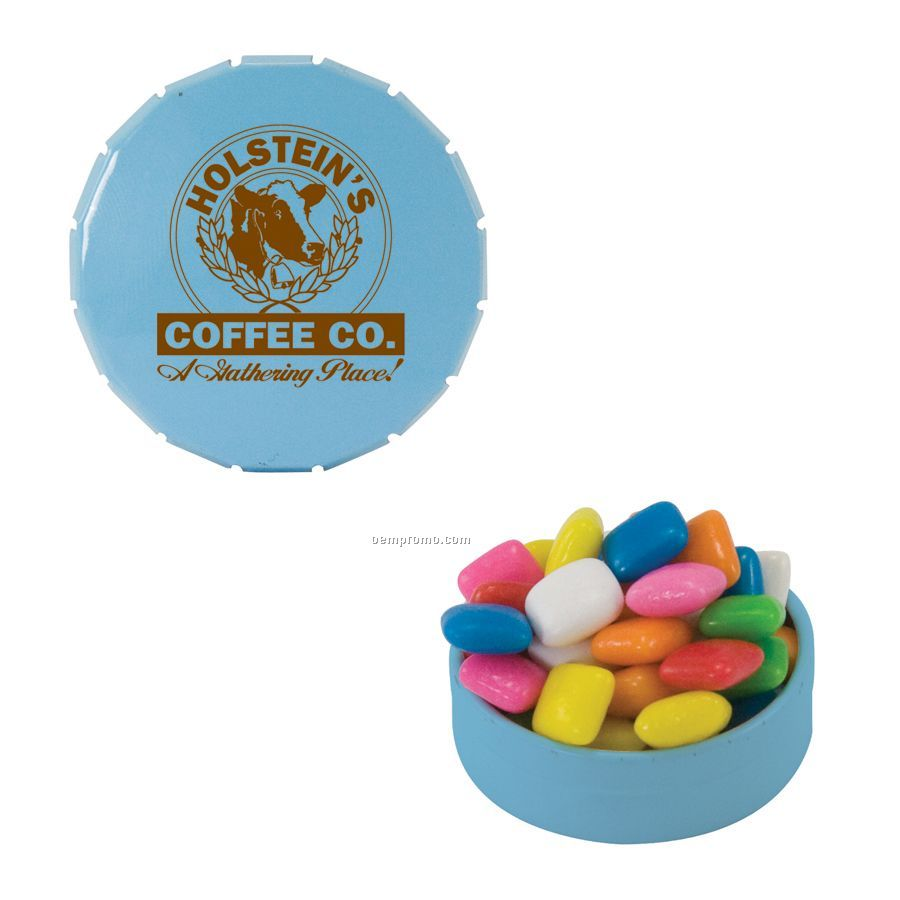 Small Light Blue Snap-top Mint Tin Filled With Gum