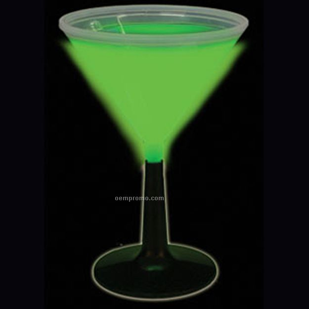 9 Oz. Green Glow Martini Glass W/ Black Base