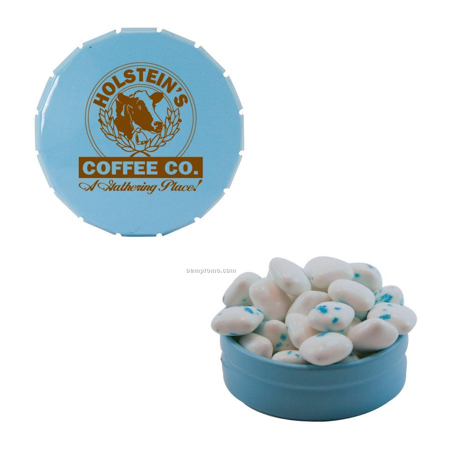 Small Light Blue Snap-top Mint Tin Filled With Sugar Free Gum