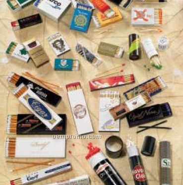 """20 Count Custom Cigar Match Box With 4"""" Matches (112mm X48mm X10mm)"""