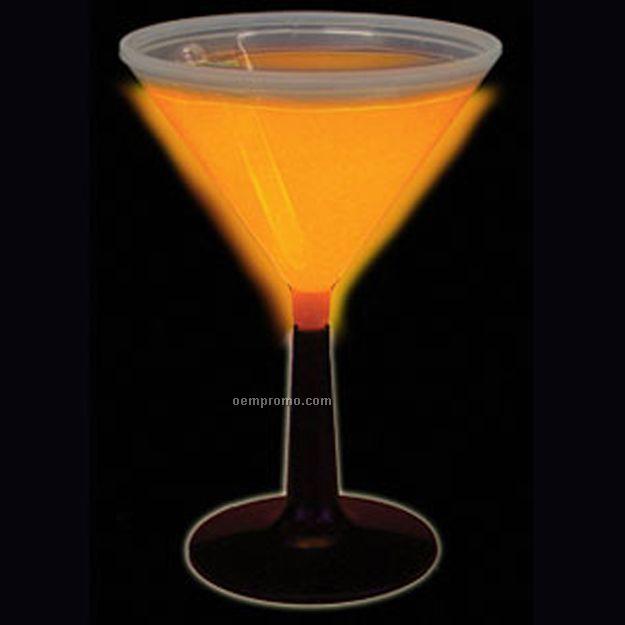9 Oz. Orange Glow Martini Glass W/ Black Base