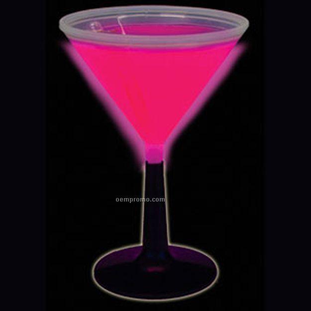 9 Oz. Pink Glow Martini Glass W/ Black Base