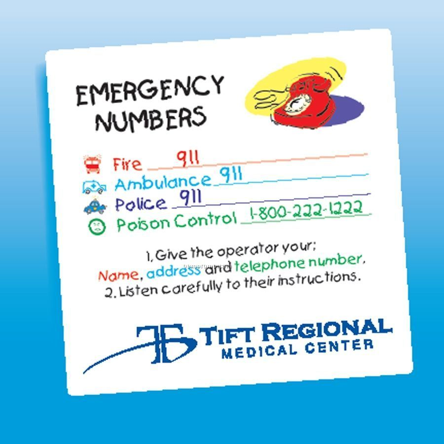 Health & Safety - Laminated Emergency Numbers Magnet