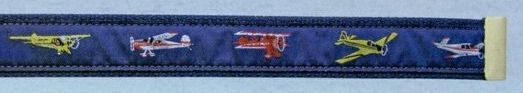 Embroidered Pattern Belt With Adjustable Leather Tip (Classic Planes)