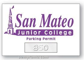 """Numbered Rectangle Clear Static Cling Inside Parking Permit (2""""X3"""")"""