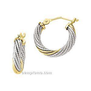 Ladies' Stainless Steel/14k 14-3/4mm Hoop Earring