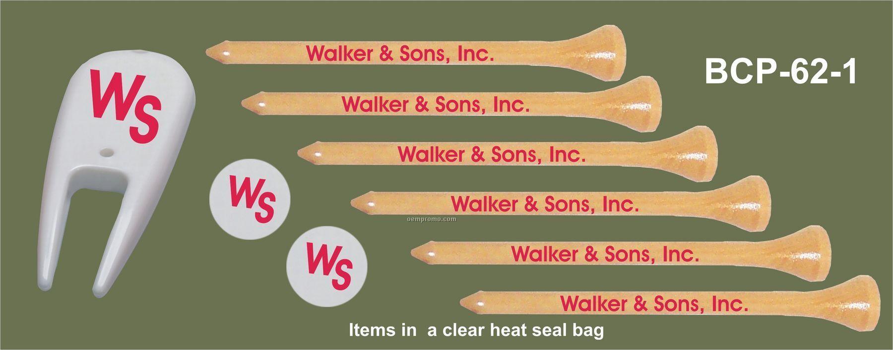 "3-1/4"" Combo Packs - 6 Tees / 2 Ball Marker / 1 Divot Tool"