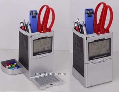 Clock & Calculator W/Pen Holder