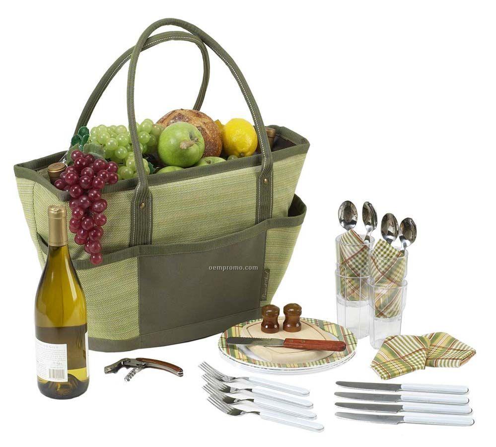 Hamptons Picnic Basket Cooler Tote Bag For Four