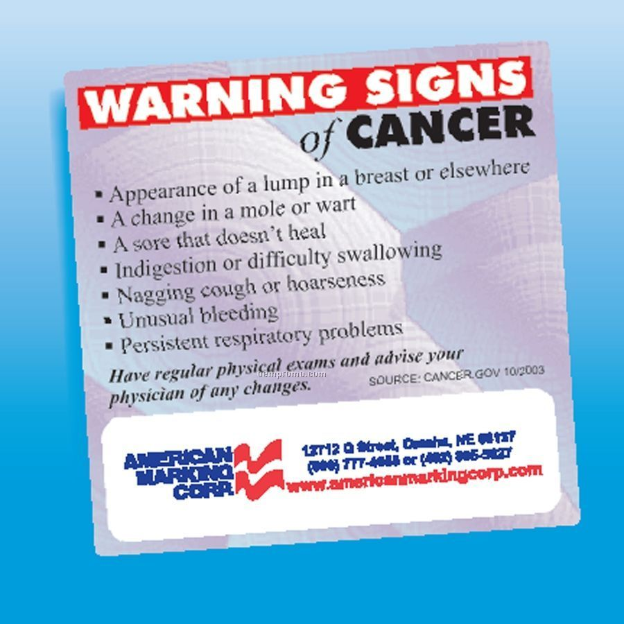 Health & Safety - Laminated Warning Signs Of Cancer Magnet