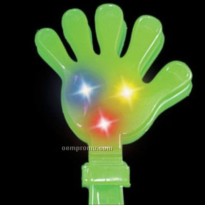 "11"" Green Light Up Hand Clapper W/ Red, Yellow, & Blue Leds"