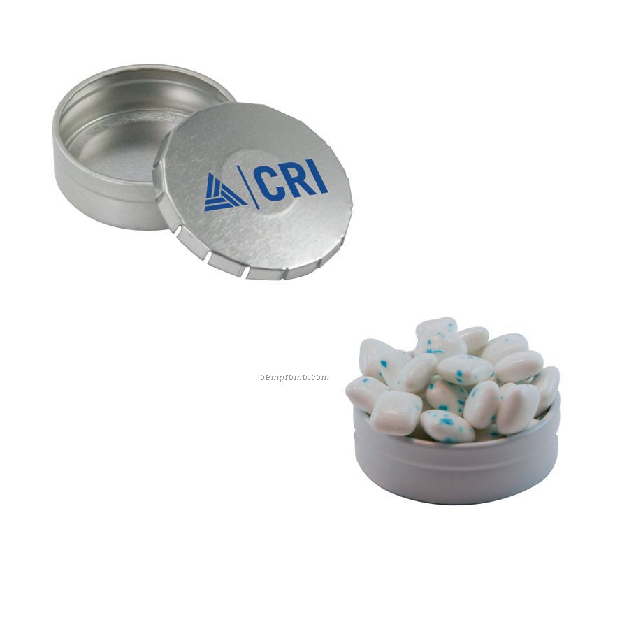 Small Silver Snap-top Mint Tin Filled With Sugar Free Gum