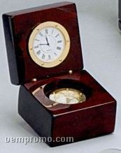 Navigator Wood Clock & Compass W/ Engraving Plate