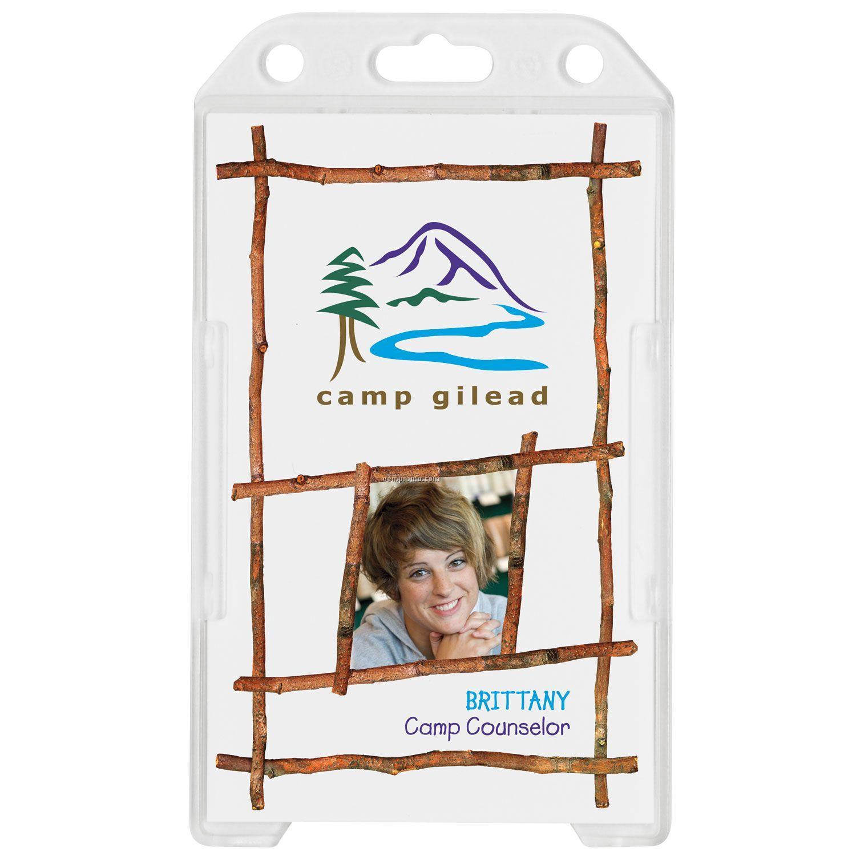 Plastic Single Card Id Holder W/ Vertical Load