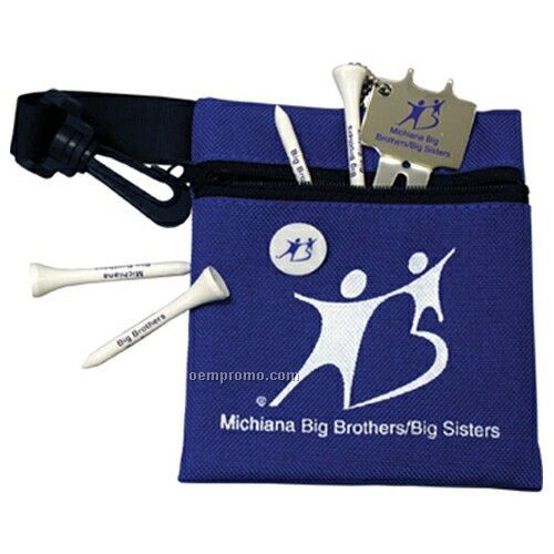 Canvas Golf Pouch With 4 Tees/ Ball Marker & Metal Divot Tool