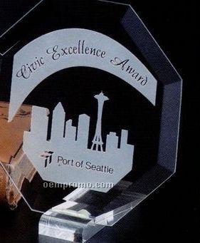 "Jade Gallery Crystal Prisma Octagon Award (6"")"
