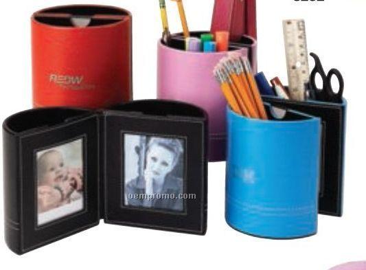 Leather Penholder W/ Picture Frames